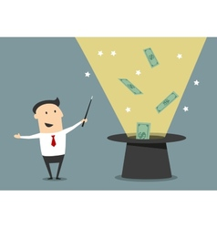 Wizard businessman with magic hat and money vector