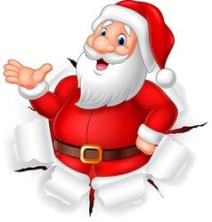 Cartoon funny Santa claus presenting vector image vector image