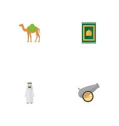 flat icons prayer carpet artillery dromedary and vector image vector image