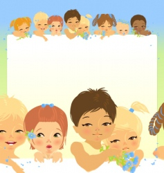 frame with eight babys heads vector image