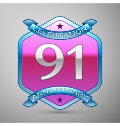 Ninety one years anniversary celebration silver vector