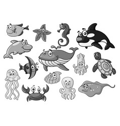 sea ocean cartoon animals fishes icons set vector image
