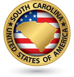 South carolina state gold label with state map vector