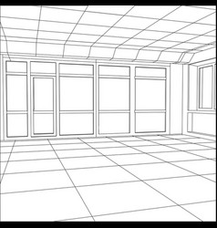wire-frame office room eps 10 format vector image