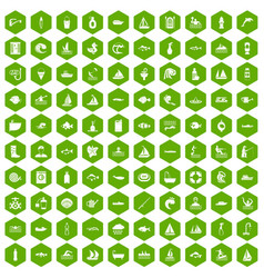 100 water icons hexagon green vector image