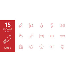 15 wood icons vector image