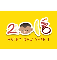 2016 new year greeting monkey zodiac symbol vector