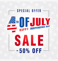 4 july independence day usa sale banner light vector