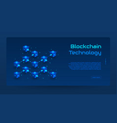 Abstract blockchain isometric concept banner vector