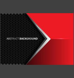 Abstract metal arrow red gray hexagon mesh vector