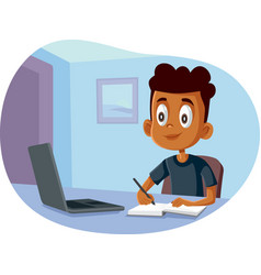 African school boy studying from home vector