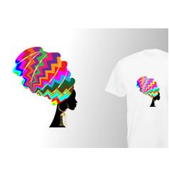 Afro woman turban print for stylish t-shirt vector
