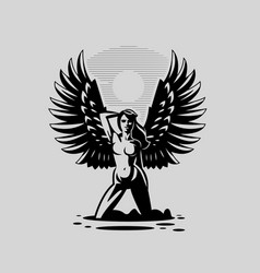 An angel woman with large wings vector
