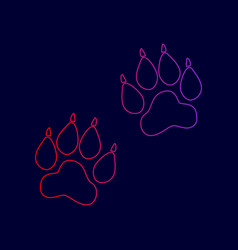 animal tracks sign line icon with vector image