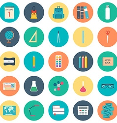 Back to school School and education icons Flat vector image