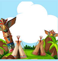 background scene with traditional tents and totem vector image