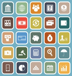 Banking flat icons on blue background vector image