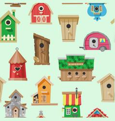birdhouses seamless pattern vector image