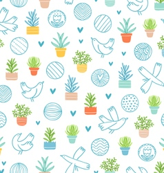 Birds and succulents doodle pattern vector image