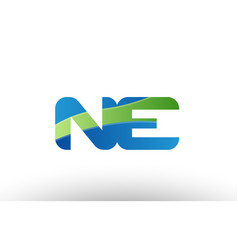 Blue green ne n e alphabet letter logo vector