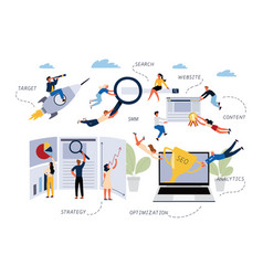 business concept seo search optimization vector image