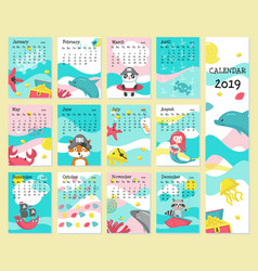 Calendar 2019 template with pirate animals vector