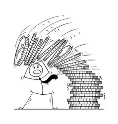 cartoon businessman under falling pile coins vector image