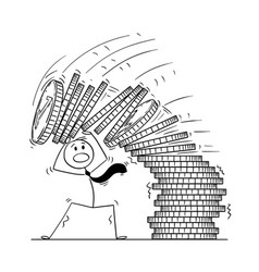 cartoon of businessman under falling pile of coins vector image