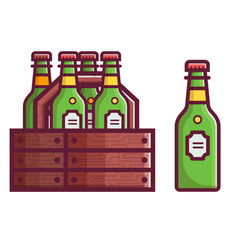 case of beer in bottles vector image