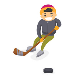 Caucasian boy playing hockey on outdoor rink vector