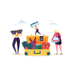 Characters packing luggage for travel vacation vector
