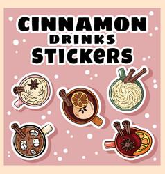 Cimmanon drinks set stickers hand drawn vector