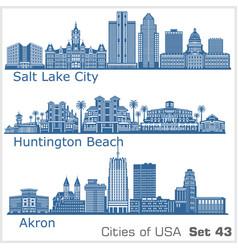 Cities usa - huntington beach salt lake city vector