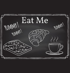 Coffee cup toast and croissant icon eat me vector
