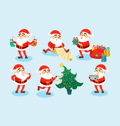collection christmas santa claus characters vector image