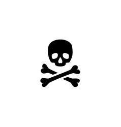 crossbones death skull flat icon vector image