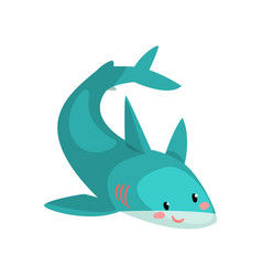 cute blue shark cartoon character vector image