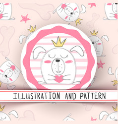cute cartoon dog - seamless pattern vector image