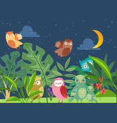 cute cartoon owls in night fairy tale forest vector image