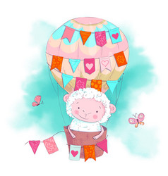 Cute cartoon sheep in a balloon vector