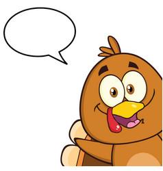 Cute turkey bird character with speech bubble vector
