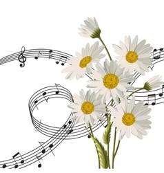 Daisies with music notes vector image vector image