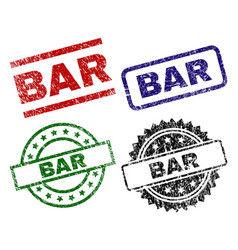 Damaged textured bar seal stamps vector
