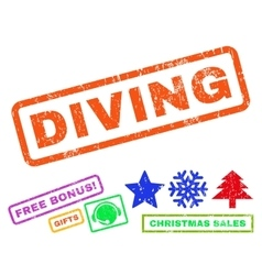 Diving Rubber Stamp vector