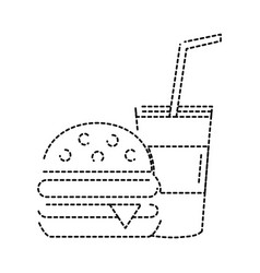 dotted shape hamburger and beverage in the cup vector image