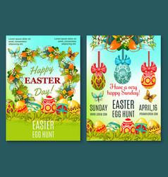 Easter egg hunt celebration poster template set vector