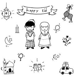 Eid Mubarak for kids Doodle vector