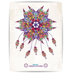 Ethnic background with abstract feathers design vector image