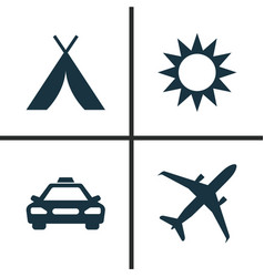 Exploration icons set collection of land sunny vector