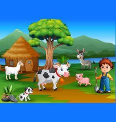 farmer activity on the nature with animal farm vector image